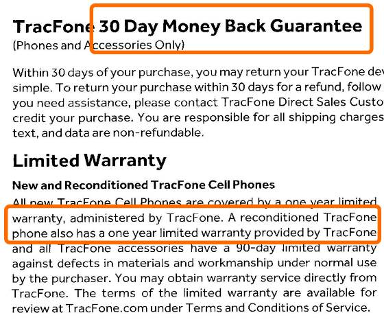Tracfone warranty on refurbished phones