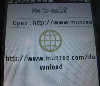 Kaywa Reader on EX124g reading QR code for munzee.com site