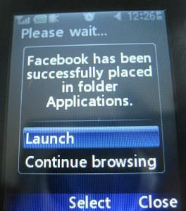 launch facebook app in LG 420g
