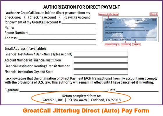 sample jitterbug autopay form