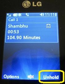 LG 420g unhold call
