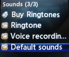 LG 420g Default Sounds menu option