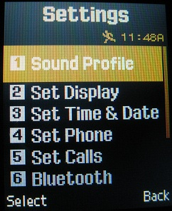 T301g settings sound profile menu option