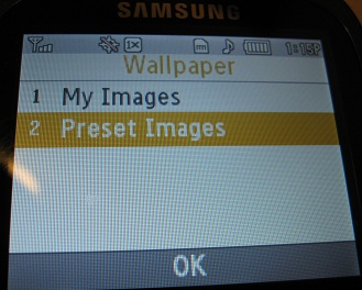 Samsung R355C Wallpaper menu
