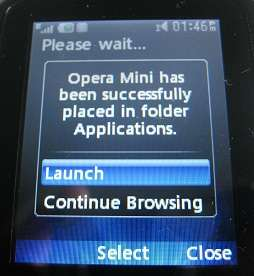 Launch Opera Mini app on LG500g