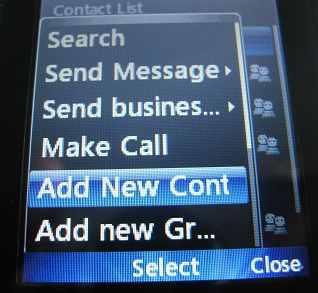 LG 500g Add new Contact menu option