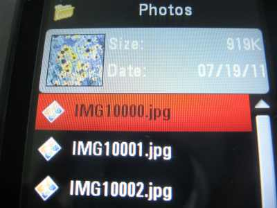 EX124g photos in phone memory