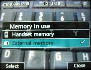 LG 900g External memory selection