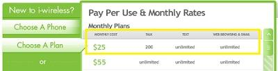 iwireless $25 plan claims unlimited web and email