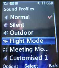 LG 420g select Flight Mode