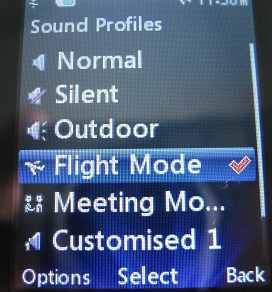 LG 420g Flight Mode activated