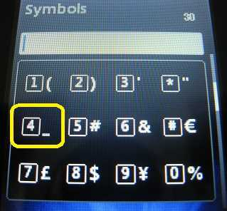 Underscore symbol and other special symbols