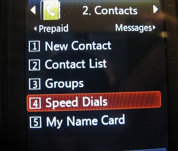 lg290c speed dial menu option