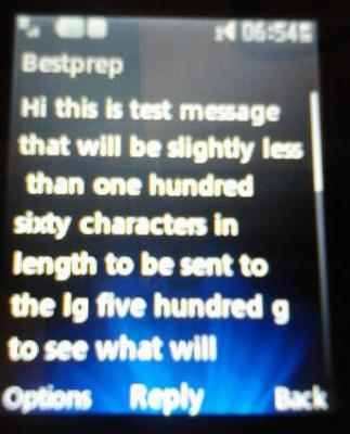 lg 500g received text msg