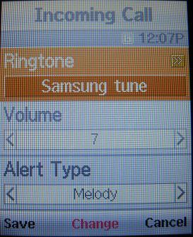 Samsung T401g ringtone settings