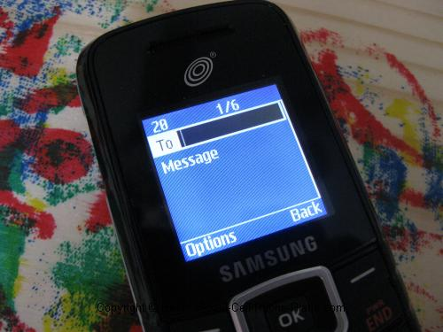 T105g text message screen
