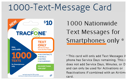tracfone text message card
