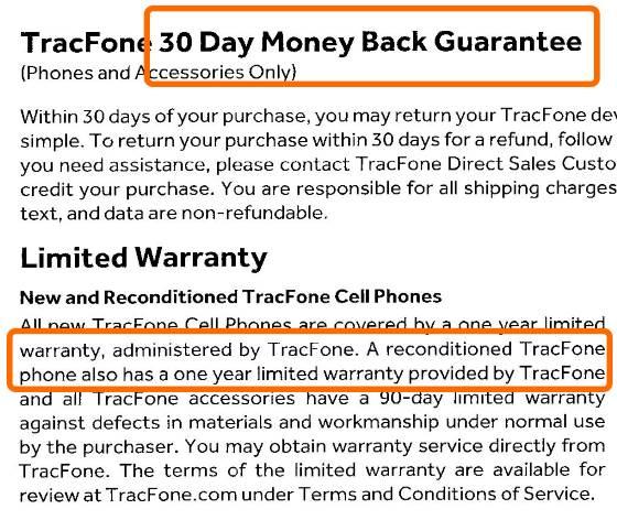 Tracfone warranty on refurbished phones