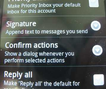 samsung galaxy precedent gmail signature option