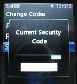 LG 500g enter current security code