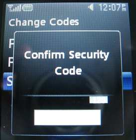 LG 500g confirm new security code