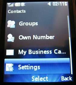 LG 620g Contacts Settings
