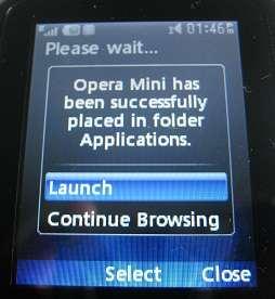 Launch Opera Mini app on LG500g