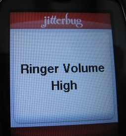 Jitterbug ringer volume on high setting