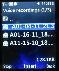 Insert LG 420g voice recording as ringtone