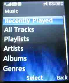 Music player menu
