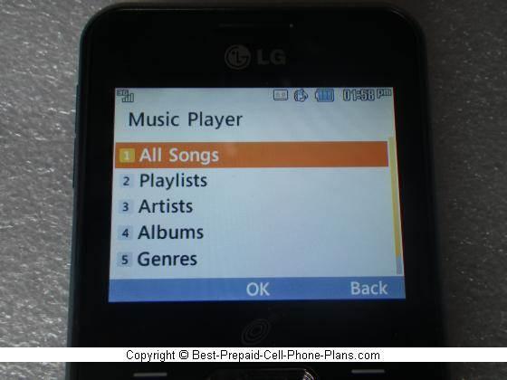 lg 530g music player menu