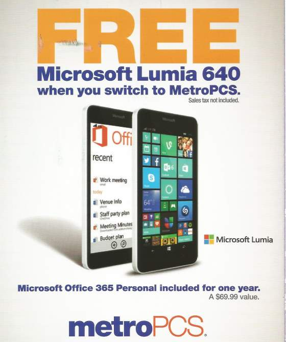 metropcs nokia lumia 640 offer