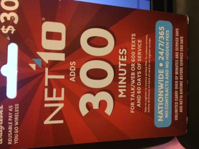 300 minute Net10 card front