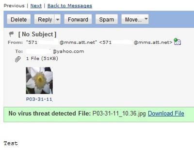 Picture message to Yahoo! Mail