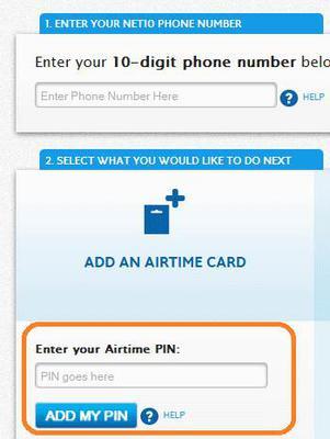 add net10 airtime pin