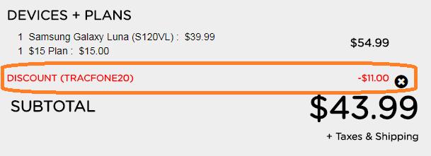 Tracfone 20 percent discount